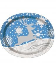 8 Ovale Teller Weihnachten 25 x 31 cm