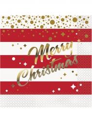 Merry Christmas Servietten weihnachtliches-Tischzubehör 33x33cm rot-weiss