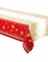 Weihnachtliche-Tischdecke aus Kunststoff gold-rot 137x213cm