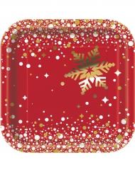 Kleine Pappteller Weihnachten rot-gold 8 Stück 18cm