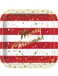 Merry Christmas Pappteller weihnachtliches-Tischzubehör 8 Stück rot-weiss 23cm