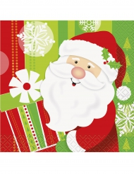 16 kleine Papier-Servietten Weihnachtsmann 25 x 25 cm
