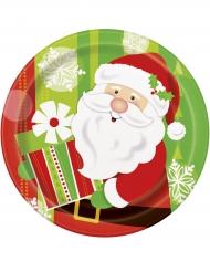 Pappteller Weihnachtsmann 8 Stück bunt 23 cm