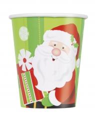 8 Pappbecher Weihnachtsmann-Motiv 270ml
