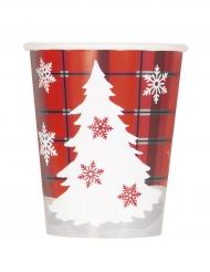 8 Trinkbecher Weihnachten rot-weiß 270 ml