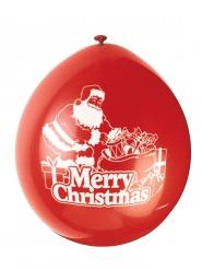Merry Christmas Luftballons 10 Stück rot-weiß 23 cm