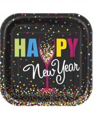 Quadratische Pappteller Happy New Year 10 Stück 18cm