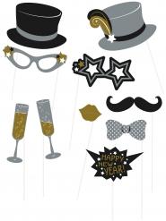 Foto-Set für Silvester 10-teilig schwarz-silber-gold