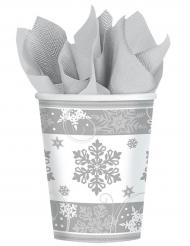 8 Pappbecher Schneeflocken 266 ml
