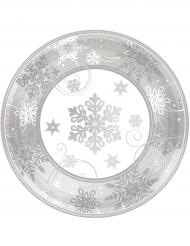 8 kleine Pappteller im Schneeflockendesign 18 cm