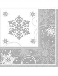 16 Papierservietten Schneeflocken 25 x 25 cm