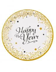 8 Teller aus Karton Happy New Year gold 23 cm