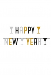 Happy New Year Partygirlande schwarz-gold-silber