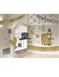 Happy New Year Deko-Set schwarz-gold-silber