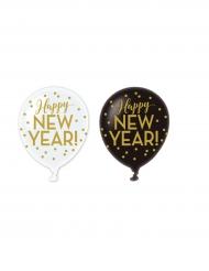 6 Happy New Year Ballons schwarz-weiß-gold 30cm