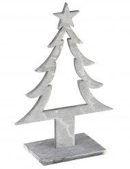 Weihnachtsbaum-Deko aus Holz grau