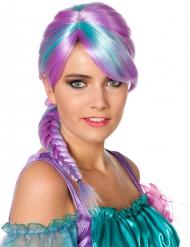 Zweifarbige Zopf-Perücke für Damen