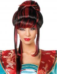 China Perücke für Damen schwarz-rot