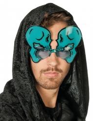 Humorvolle Totenkopf-Brille für Erwachsene Halloween blau