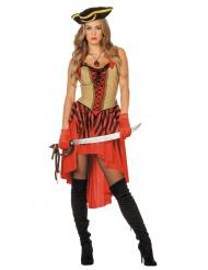 Sexy Piratenbraut-Kostüm für Damen rot-schwarz-beige