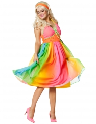 60er Jahre Kostüm für Damen Regenbogen