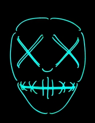 LED-Maske Skelett Augen und Mund genäht nachtleuchtend