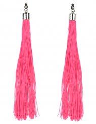 Fluoreszierende Ohrringe mit Fransen rosa