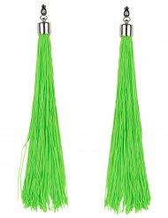 Fluoreszierende Ohrringe mit Fransen neongrün