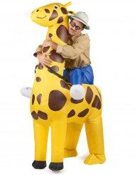 Giraffe Carry-Me Kostüm aufblasbar für Erwachsene bunt