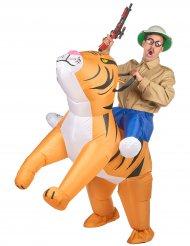 Aufblasbares Tiger Carry-Me Kostüm für Erwachsene bunt