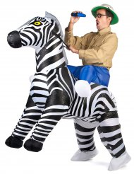 Aufblasbares Zebra Carry-Me Kostüm für Erwachsene bunt