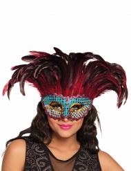 Maske Phoenix mit Federn für Erwachsene