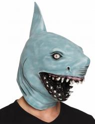 Haifisch-Maske auf Latex Tiermaske für Erwachsene blau