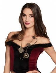 Steampunk Halskette für Damen braun