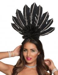 Brasilianischer Kopfschmuck mit Federn für Damen schwarz