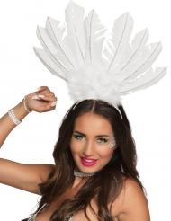 Brasilianischer Kopfschmuck mit Federn für Damen weiß