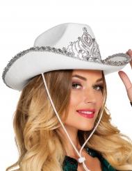 Prinzessinnen-Cowboyhut für Damen weiss-silber