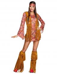 Hippie-Damenkostüm mit Fransen-Weste bunt