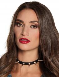 Nietenhalsband für Damen Kostüm-Accessoire Punk schwarz-silber