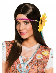 Perücke mit Stirnband für Damen lang braun
