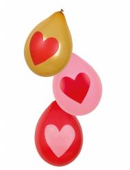 Luftballon mit Herz Partydekoration 6 Stück bunt 25cm