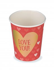 6 bunte Pappbecher Love you 250 ml