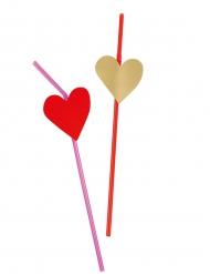 6 Strohhalme mit Herzverzierung