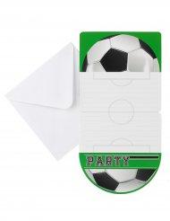 6 Einladungen Fußballparty 10 x 20 cm