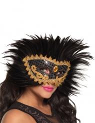 Maschera veneziana con piume nere