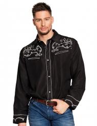 Cowboyhemd für Herren Western schwarz-weiss