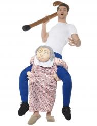 Mann auf Rücken von Oma Kostüm