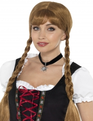 Oktoberfest Halsschmuck mit Edelweiss Kostüm-Accessoire schwarz-silber