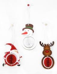 3 Waben-Aufhänger Weihnachtsdeko bunt 12cm