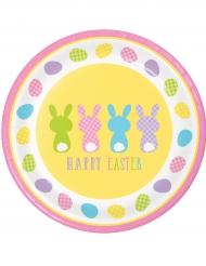 Pappteller-Osterhasen Happy Easter 8 Stück bunt 22 cm